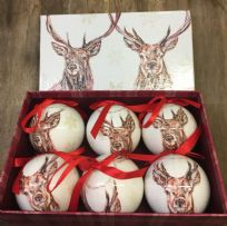 Rustic Winter Stag Set of 6 Baubles